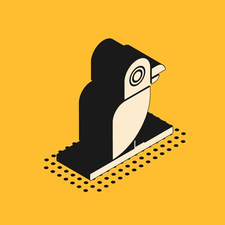 Isometric Pirate parrot icon isolated on yellow background. Vector Illustration