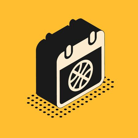 Isometric Basketball on sport calendar icon isolated on yellow background. Vector Illustration