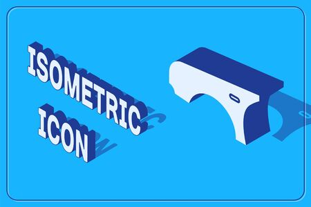 Isometric Car fender icon isolated on blue background. Vector Illustration Illustration