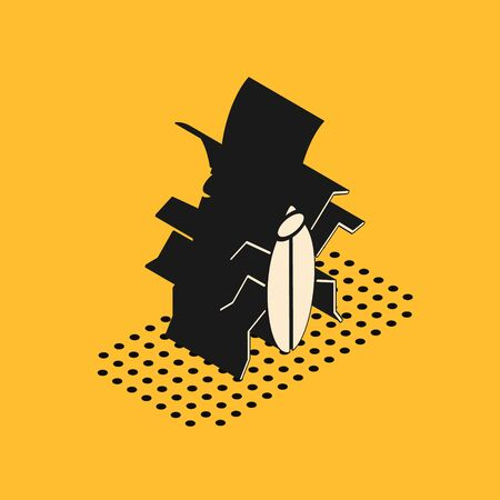 Isometric Cockroach icon isolated on yellow background. Vector Illustration Foto de archivo - 137533286