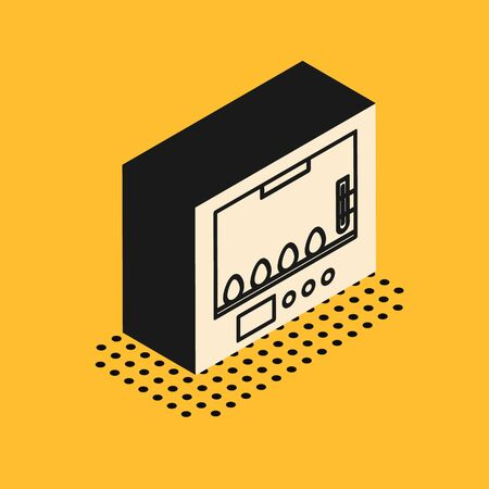 Isometric Incubator for eggs icon isolated on yellow background. Vector Illustration