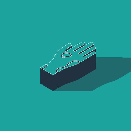 Isometric Hand with psoriasis or eczema icon isolated on green background. Concept of human skin response to allergen or chronic body problem. Vector Illustration Illusztráció