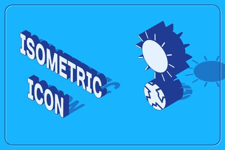 Isometric Solstice icon isolated on blue background. Vector Illustration