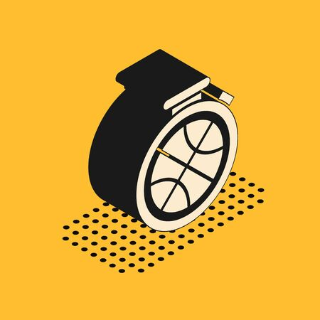 Isometric Stopwatch with basketball ball inside icon isolated on yellow background. Basketball time. Sport and training. Vector Illustration