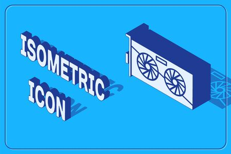 Isometric Video graphic card icon isolated on blue background. Vector Illustration Ilustração