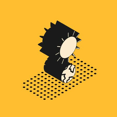 Isometric Solstice icon isolated on yellow background. Vector Illustration