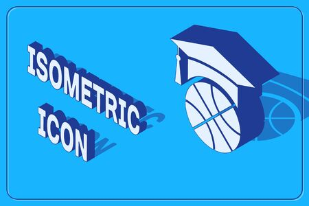 Isometric Basketball training icon isolated on blue background. Vector Illustration