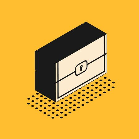 Isometric Chest for game icon isolated on yellow background. Vector Illustration