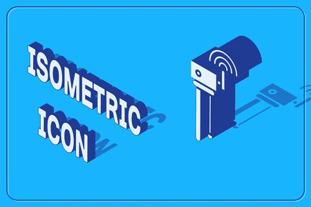Isometric Router and wi-fi signal symbol icon isolated on blue background. Wireless ethernet modem router. Computer technology internet. Vector Illustration Illusztráció