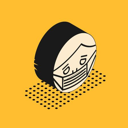 Isometric Man face in a medical protective mask icon isolated on yellow background. Quarantine. Vector Illustration