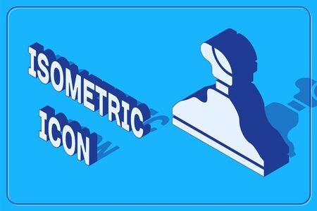 Isometric Gear shifter icon isolated on blue background. Transmission icon. Vector Illustration Illustration