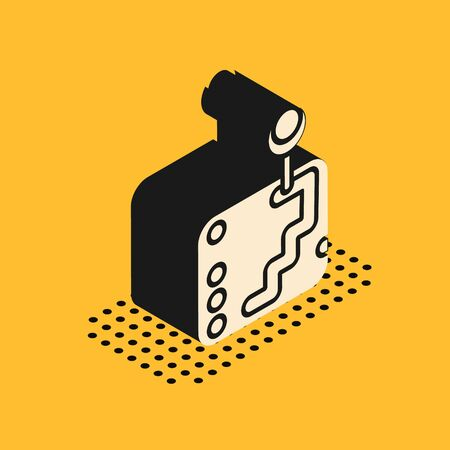 Isometric Gear shifter icon isolated on yellow background. Transmission icon. Vector Illustration
