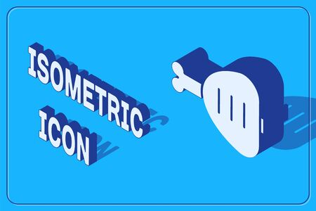 Isometric Chicken leg icon isolated on blue background. Chicken drumstick. Vector Illustration