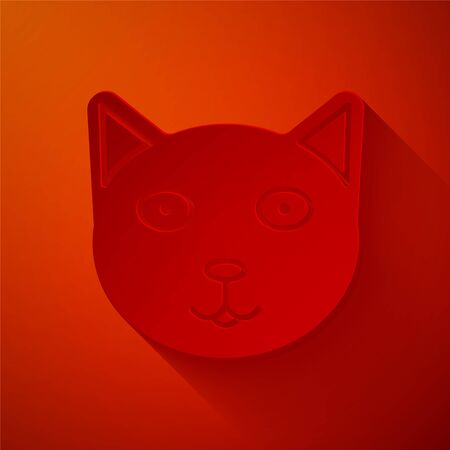 Paper cut Pet icon isolated on red background. Paper art style. Vector Illustration Çizim