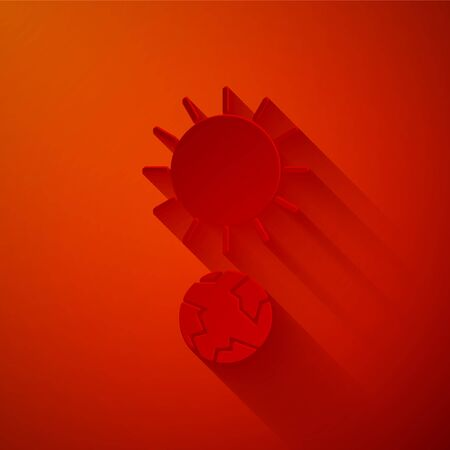 Paper cut Solstice icon isolated on red background. Paper art style. Vector Illustration Illustration