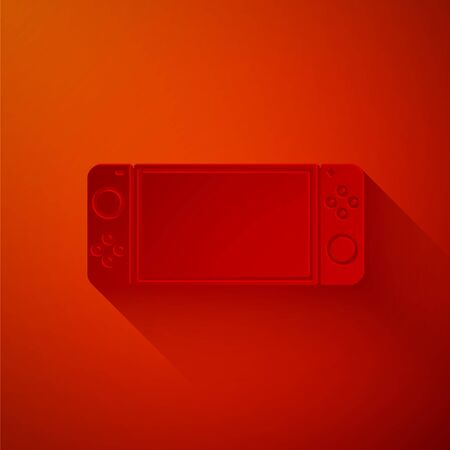 Paper cut Portable video game console icon isolated on red background. Gamepad sign. Gaming concept. Paper art style. Vector Illustration Illustration