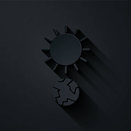 Paper cut Solstice icon isolated on black background. Paper art style. Vector Illustration Illustration