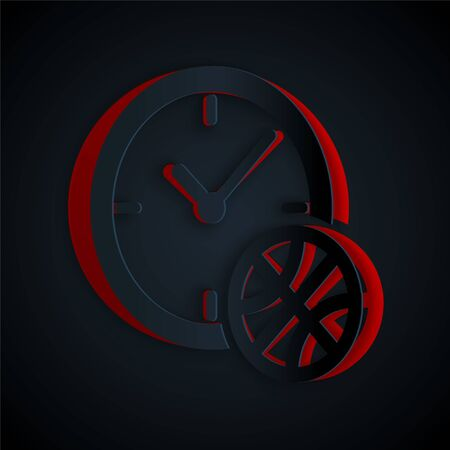 Paper cut Clock with basketball ball inside icon isolated on black background. Basketball time. Sport and training. Paper art style. Vector Illustration