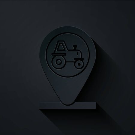 Paper cut Tractor and location icon isolated on black background. Paper art style. Vector Illustration Ilustracja