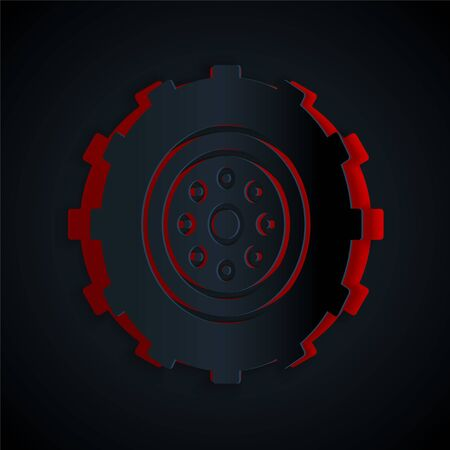 Paper cut Car wheel icon isolated on black background. Paper art style. Vector Illustration