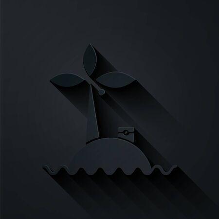 Papier découpé Île tropicale dans l'icône de l'océan isolé sur fond noir. Paysage avec océan et palmiers. Voyager. Style d'art du papier. Illustration vectorielle Vecteurs