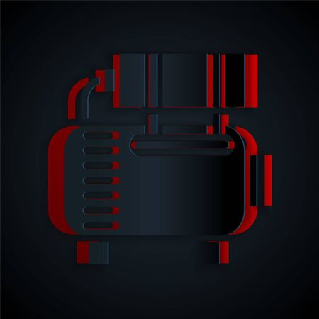Paper cut Air compressor icon isolated on black background. Paper art style. Vector Illustration