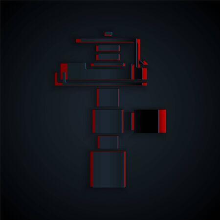Corte de papel Icono de aspersores de riego automático aislado sobre fondo negro. Equipo de riego. Elemento de jardín. Icono de pistola de pulverización. Estilo de arte de papel. Ilustración vectorial Ilustración de vector