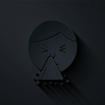 Paper cut Man holding handkerchief or napkin to his runny nose icon isolated on black background. Coryza desease symptoms. Paper art style. Vector Illustration