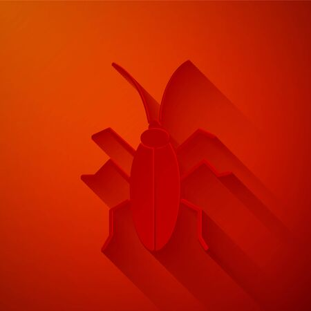 Paper cut Cockroach icon isolated on red background. Paper art style. Vector Illustration Foto de archivo - 137360888