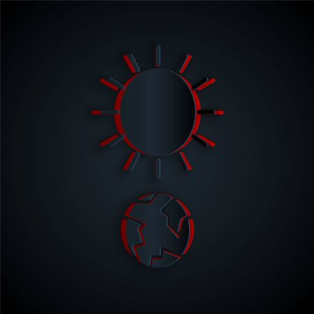 Paper cut Solstice icon isolated on black background. Paper art style. Vector Illustration Stock Illustratie
