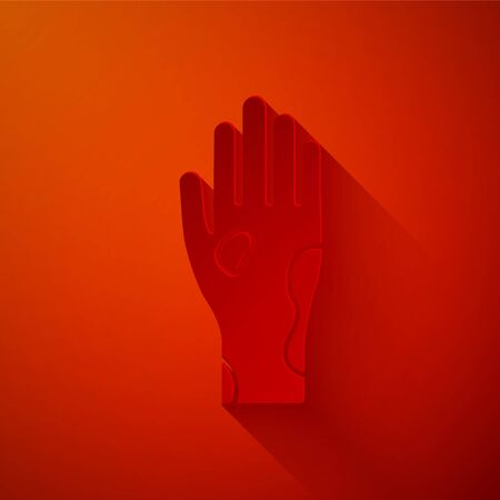 Paper cut Hand with psoriasis or eczema icon isolated on red background. Concept of human skin response to allergen or chronic body problem. Paper art style. Vector Illustration Illustration