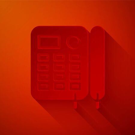 Paper cut Telephone icon isolated on red background. Landline phone. Paper art style. Vector Illustration Foto de archivo - 137361898