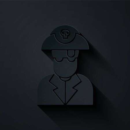 Paper cut Pirate captain icon isolated on black background. Paper art style. Vector Illustration