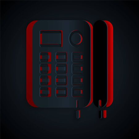 Paper cut Telephone icon isolated on black background. Landline phone. Paper art style. Vector Illustration Foto de archivo - 137323205