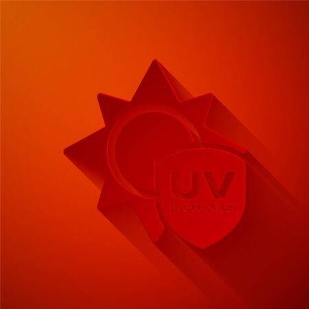 Ikona ochrony UV cięcia papieru na białym tle na czerwonym tle. Słońce i tarcza. Promieniowanie promieniami ultrafioletowymi. Znak słońca SPF. Styl sztuki papieru. Ilustracja wektorowa