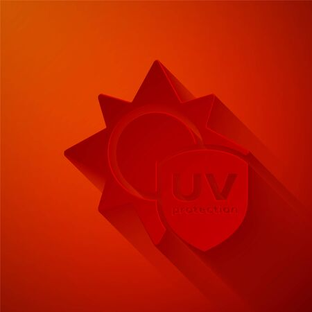 Paper cut UV protection icon isolated on red background. Sun and shield. Ultra violet rays radiation. SPF sun sign. Paper art style. Vector Illustration