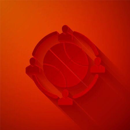 Paper cut Clock with basketball ball inside icon isolated on red background. Basketball time. Sport and training. Paper art style. Vector Illustration Stock Illustratie
