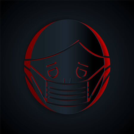 Paper cut Man face in a medical protective mask icon isolated on black background. Quarantine. Paper art style. Vector Illustration Illusztráció