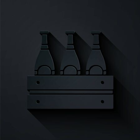 Paper cut Pack of beer bottles icon isolated on black background. Wooden box and beer bottles. Case crate beer box sign. Paper art style. Vector Illustration Illustration