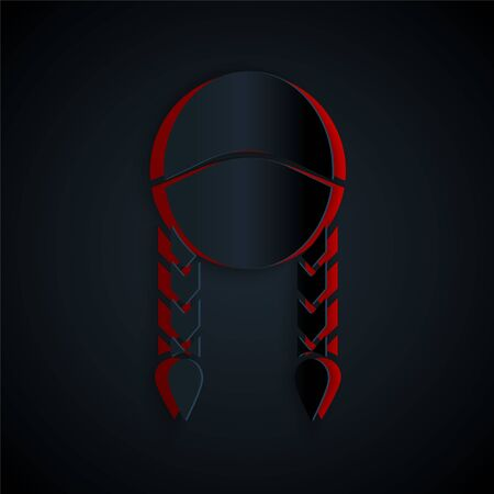 Paper cut Braid icon isolated on black background. Paper art style. Vector Illustration