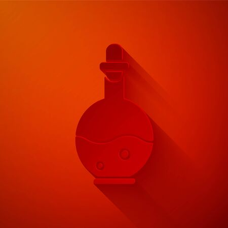 Paper cut Glass bottle with magic elixir icon isolated on red background. Computer game asset. Paper art style. Vector Illustration