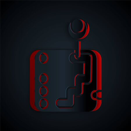 Paper cut Gear shifter icon isolated on black background. Transmission icon. Paper art style. Vector Illustration Illustration