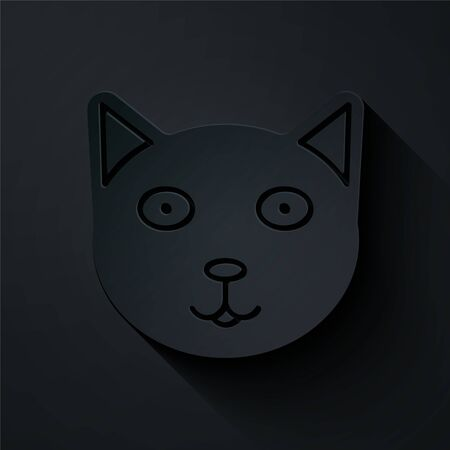Paper cut Pet icon isolated on black background. Paper art style. Vector Illustration
