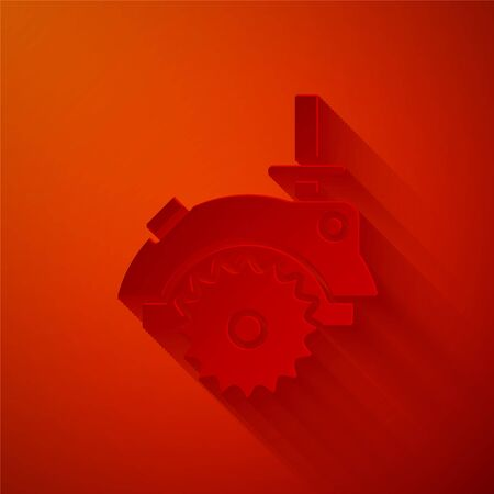 Paper cut Electric circular saw with steel toothed disc icon isolated on red background. Electric hand tool for cutting wood or metal. Paper art style. Vector Illustration