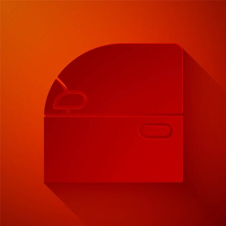 Paper cut Car door icon isolated on red background. Paper art style. Vector Illustration