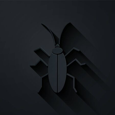 Paper cut Cockroach icon isolated on black background. Paper art style. Vector Illustration Illustration