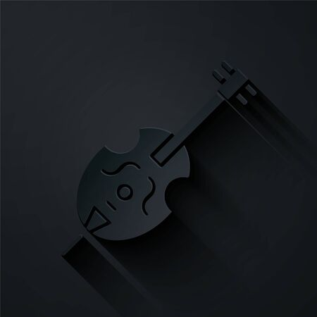 Paper cut Violin icon isolated on black background. Musical instrument. Paper art style. Vector Illustration Çizim