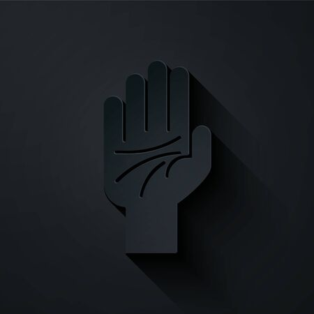 Paper cut Palmistry of the hand icon isolated on black background. Paper art style. Vector Illustration
