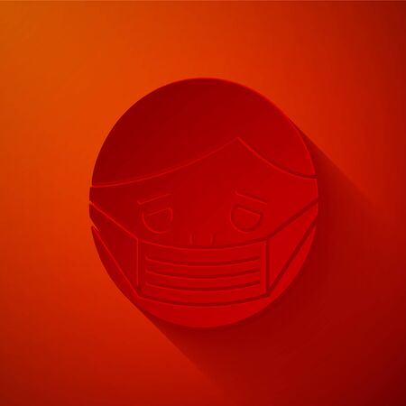 Paper cut Man face in a medical protective mask icon isolated on red background. Quarantine. Paper art style. Vector Illustration