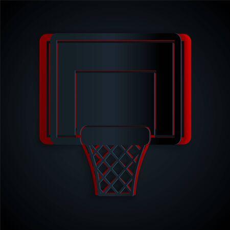Paper cut Basketball backboard icon isolated on black background. Paper art style. Vector Illustration Ilustração